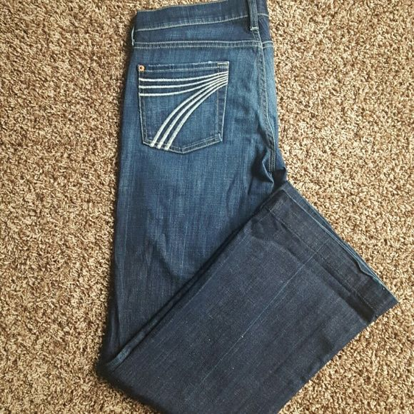 7 for all mankind Like new dark denim with light fade on thighs. Seven7 Jeans Flare & Wide Leg