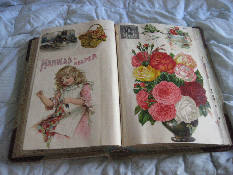 1899 Antique Victorian Scrapbook Album Die Cuts Trade Card Scraps