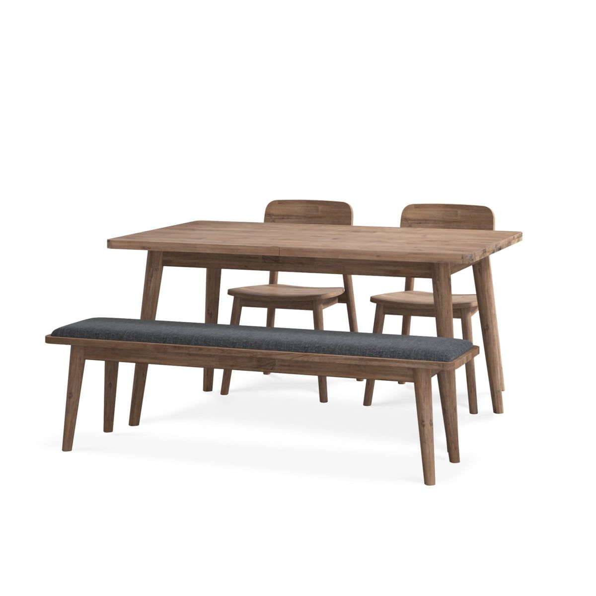 Seb Extendable Dining Table With Bench And 2 Chairs Dining Table