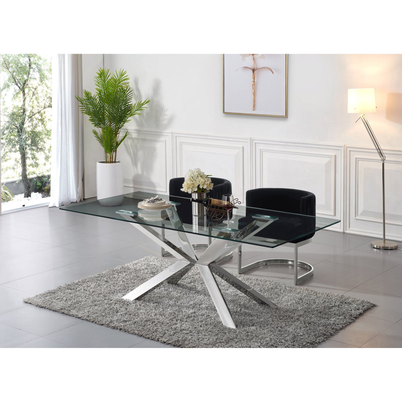 Meridian Furniture Inc Juno Chrome Dining Table Chrome Dining