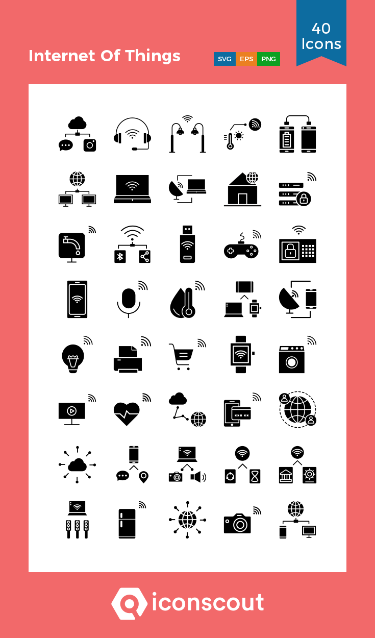 Internet Of Things Icon Pack 40 Glyph Icons Icon Pack Icon Network Icon