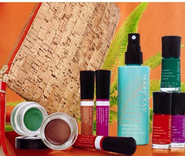 Mary Kay Paradise Calling Collection!  Whipped Eye Color (Sea Foam and Tiki Hut)  Lacquered Lip Shine ( exotic Orchid, Sunbaked, Tropical Mandarin)  Nail Lacquer   Moisturizing Spray Lotion  Shop online with me! http://www.marykay.com/kara.williams