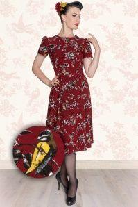 Bunny 50s Birdy Dress Red 104 27 13501 34W