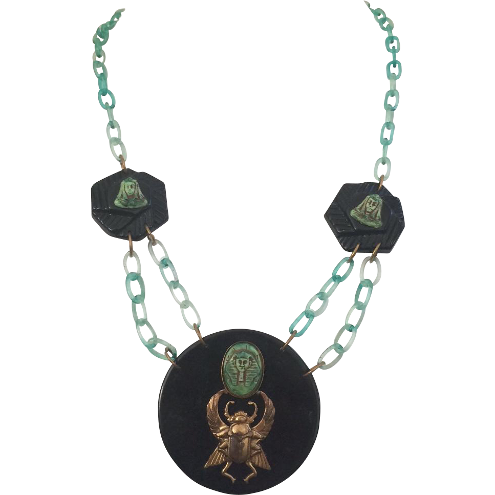 1920's Egyptian Revival Disk Necklace