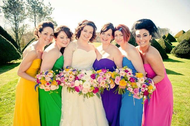 0f4ba073053 Bright bridesmaids. Bright bridesmaids Rainbow Wedding Dress ...