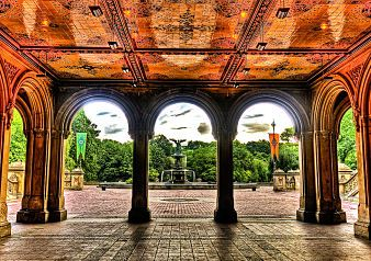Hop off the Gray Line bus at Central Park to enjoy the scenery and to visit the enchanting Bethesda Terrace