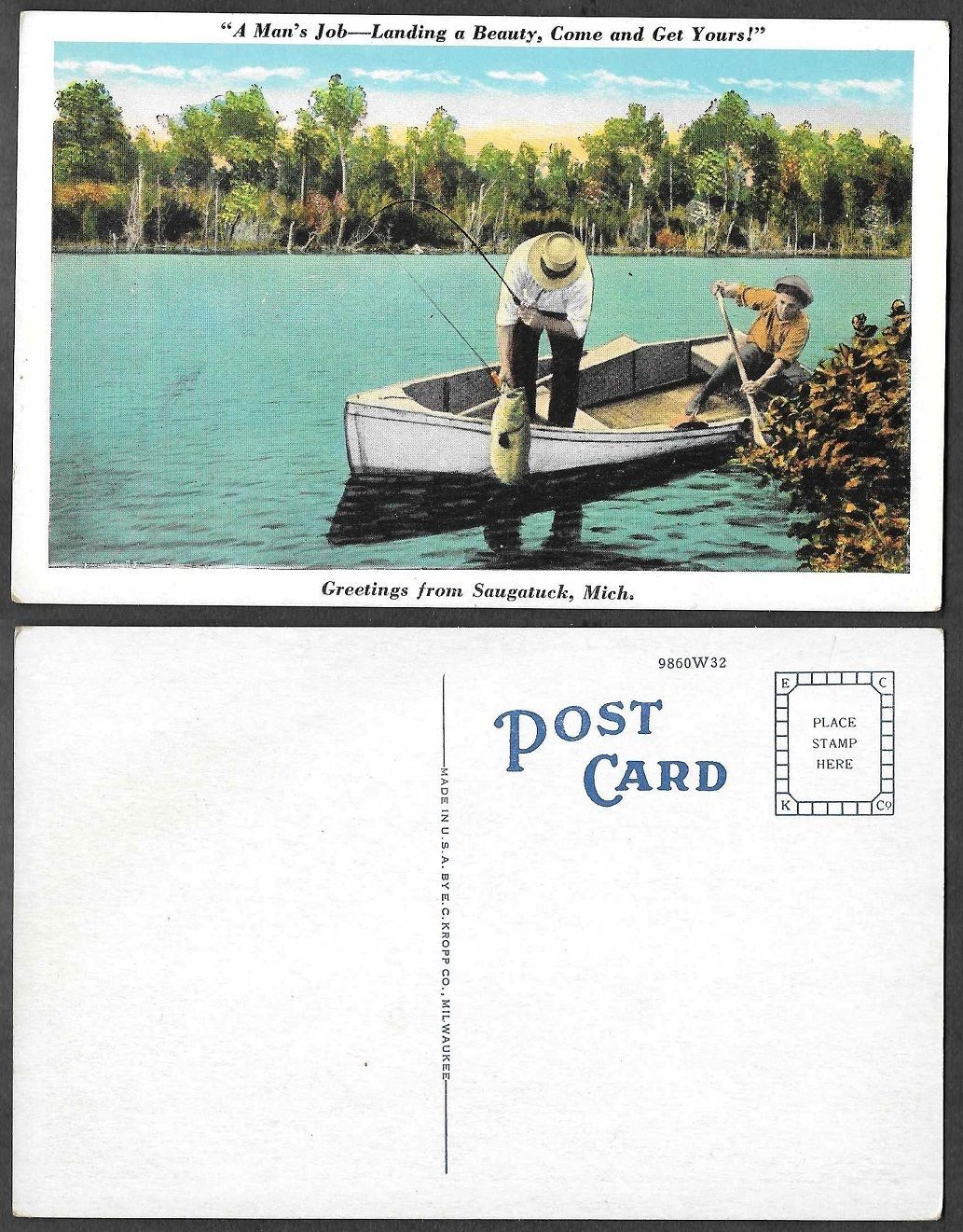Old fishing postcard greetings from saugatuck michigan ebay old fishing postcard greetings from saugatuck michigan ebay m4hsunfo