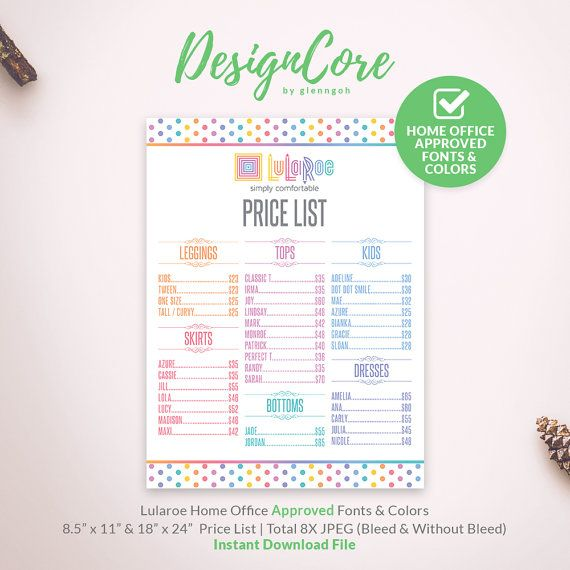 Lularoe Price List, Price Chart, Printable, Home Office Approved