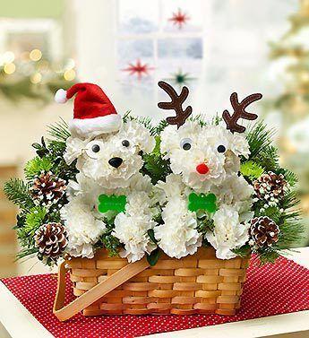 Santa and Reindeer Puppy Bouquet
