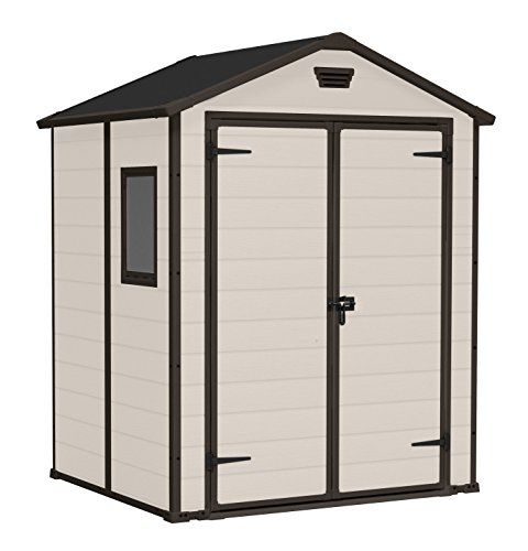 keter manor outdoor plastic garden storage shed 6 x 5 feet beige