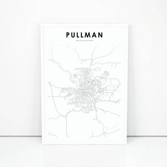 Pullman Map Print Washington Wa Usa Map Art Poster City Street