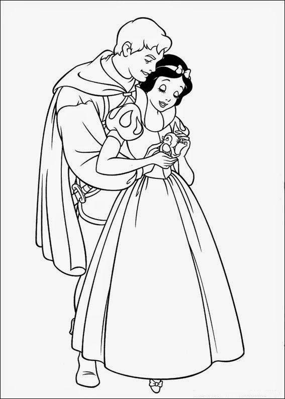 desenho Branca de Neve com Principe para pintar | coloring pages ...