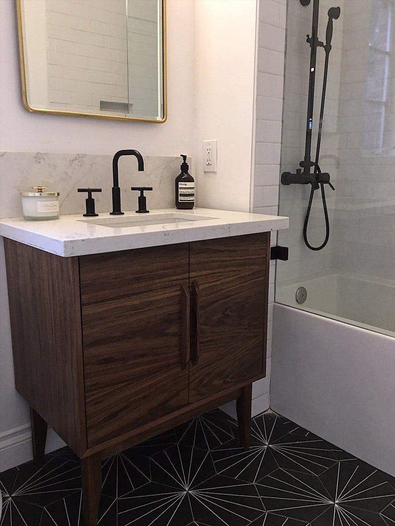 Best Mid Century Style 30 Bathroom Vanity Cabinet Walnut 640 x 480