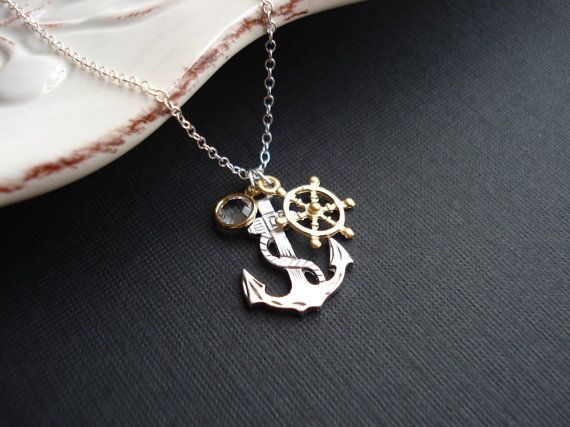Anchor necklace in silver anchor pendant wheel necklace nautical anchor necklace in silver anchor pendant wheel by anechkasjewelry aloadofball Images