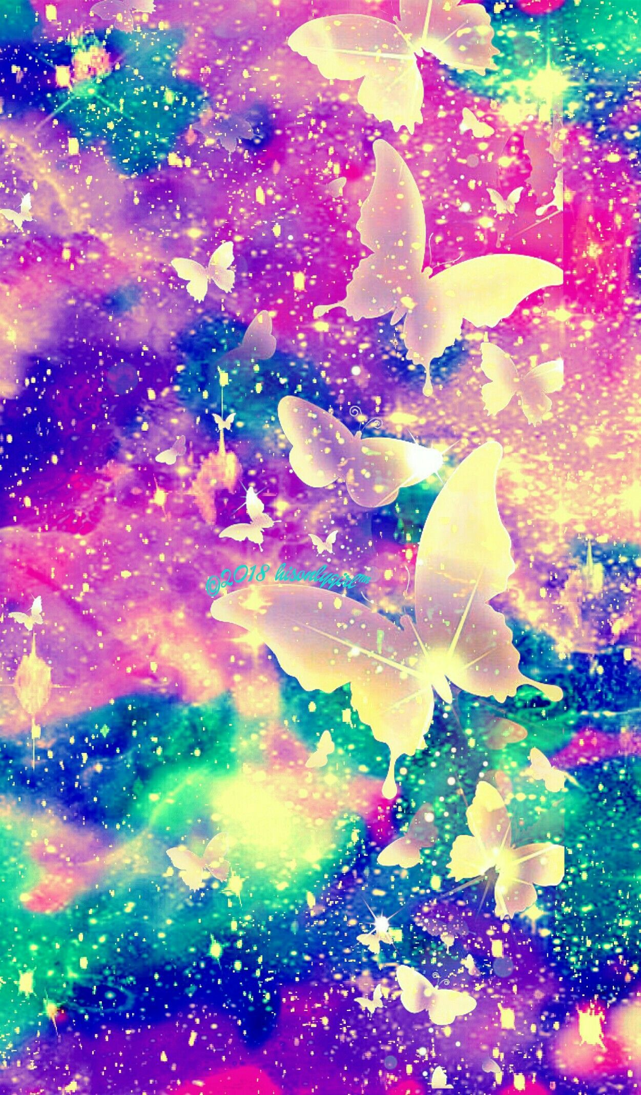 Rainbow Butterfly Sky Galaxy Wallpaper I Created Anime