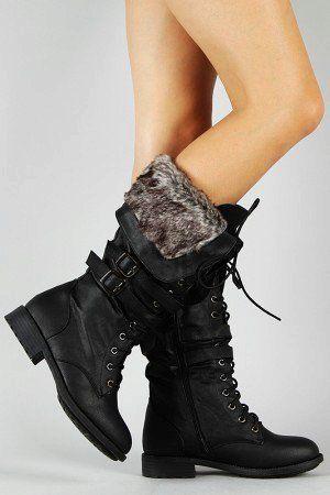 a3e08ea754c Fur Knee High Lace up Boots No Heel - Knee High Lace up Boots No Heel Black