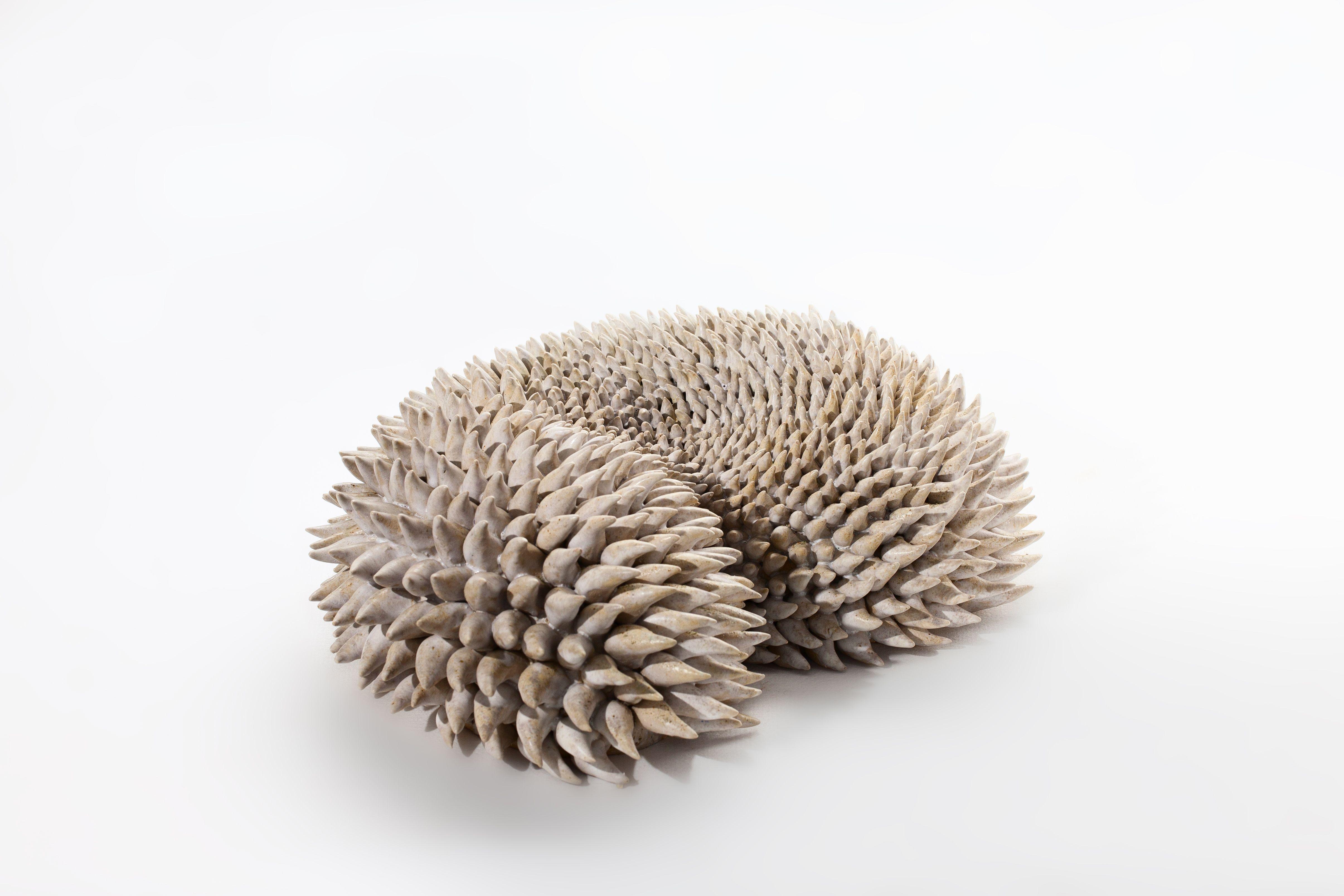 """White swirl"", stoneware, glaze, wood fired 1350°C Angelica Tulimiero"
