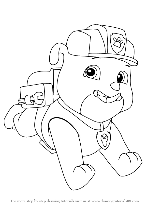 Rubble is a male puppy that belongs to bulldog family he for Rubble paw patrol coloring page