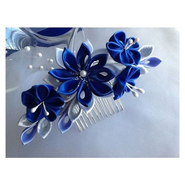 Hair Comb Royal Blue Cobalt Blue Silver And White Kanzashi Flowers