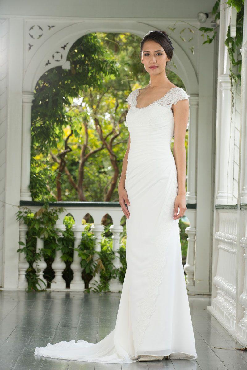 Cap Sleeves V-back Stunning Floor Length Chiffon Lace Wedding Dress ...