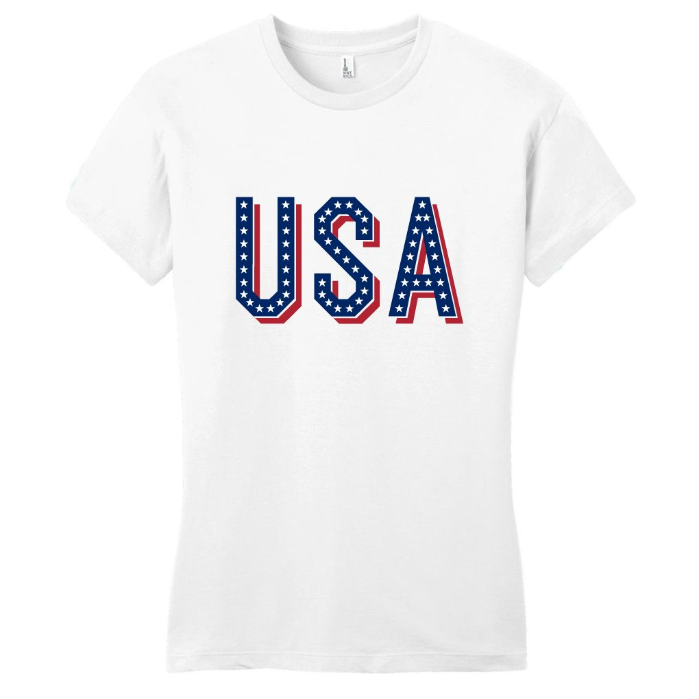 White Usa Womens Fitted T Shirt 4th Of July Shirt Independence