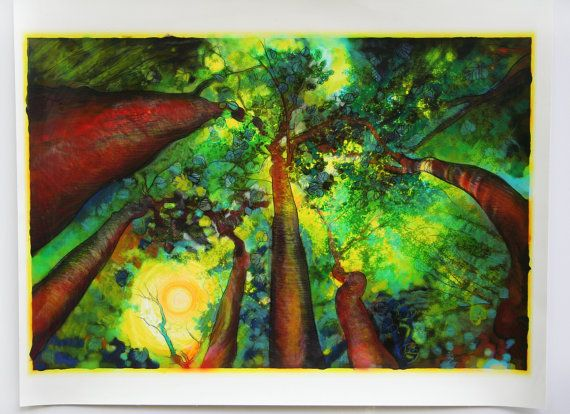 Summer sunrising 14x21 inches Works on paper by Gina Signore #Art #Tree art #green trees #Michigan art