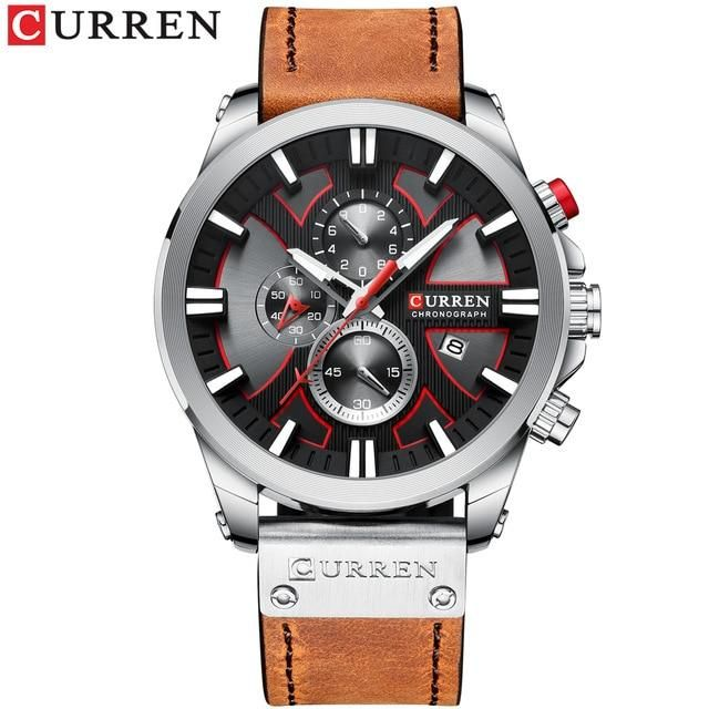 Men's Chronograph Sport Quartz Watches – brown silver black / Russian Federation