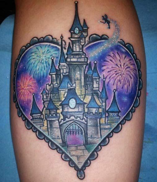 853c8f442 33 Exquisite Disney Castle Tattoo Designs | Tattoo ideas | Tatuajes ...