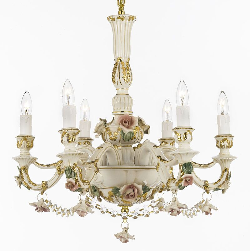Authentic Capodimonte Porcelain Chandelier Made In Italy W Swarovski Crystal