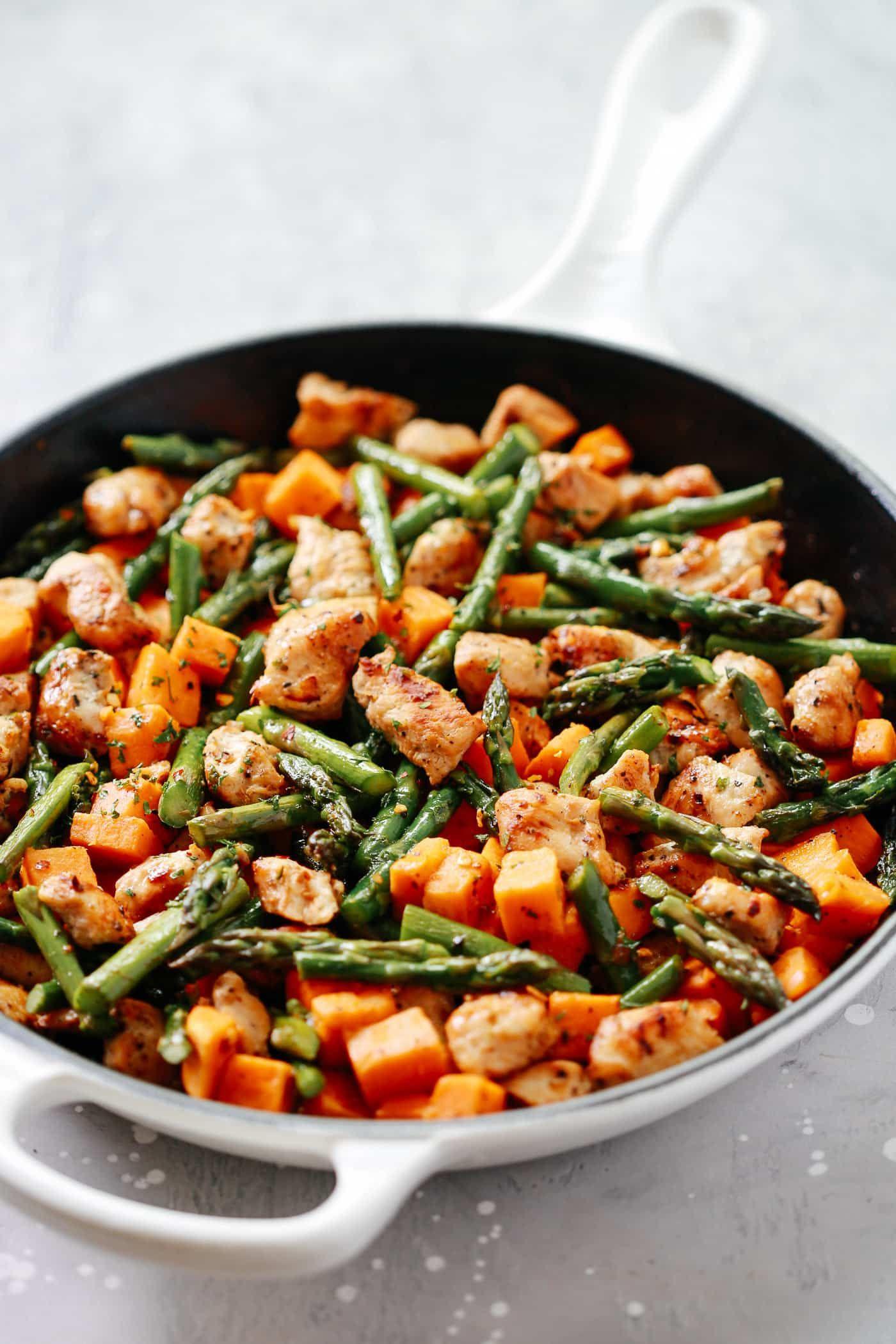 Photo of Asparagus Sweet Potato Chicken Skillet Primavera Kitchen add more broth. Serve o…