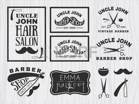 Vintage monochrome barber shop logo, labels, badges, banner, emblem, insignia, poster and design element photo