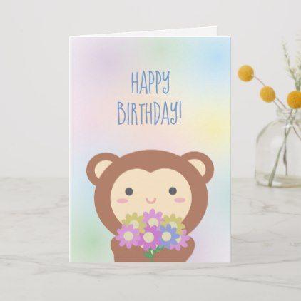 Cute Kawaii Monkey And Flowers Happy Birthday Card Zazzle Com Birthday Cards Happy Birthday Cards Custom Greeting Cards