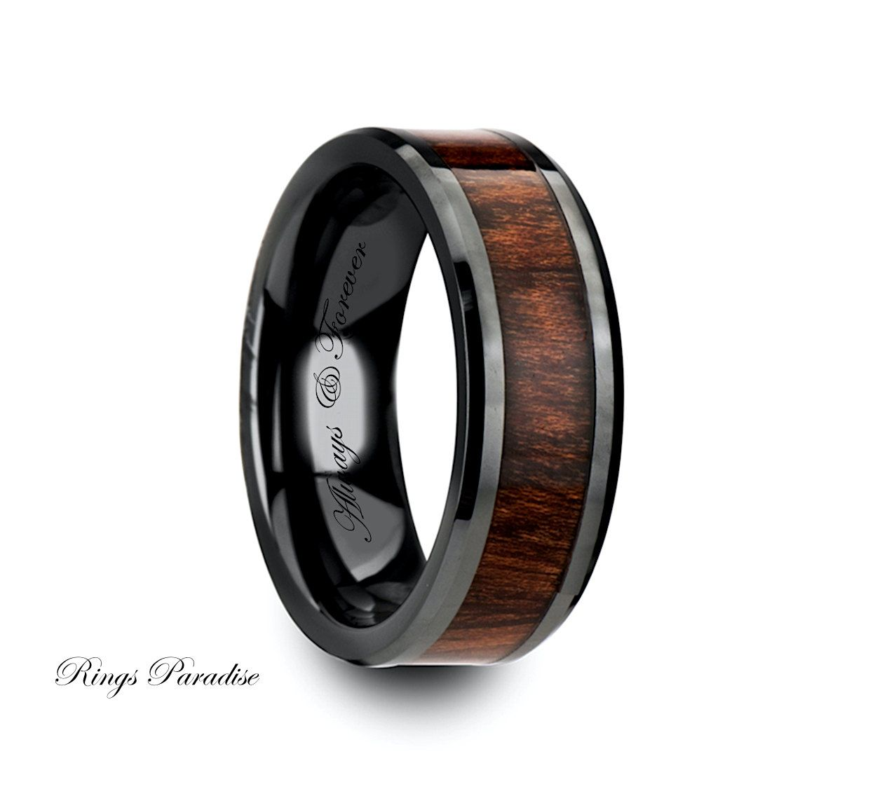 mens ceramic wedding bands www ringsparadise com Wedding Bands Band Wood Inlaid Ring Black