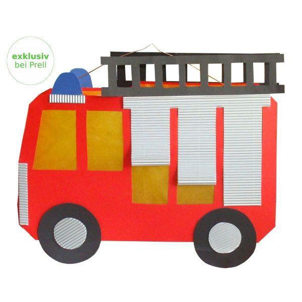 4 X Laterne Feuerwehrauto Laternen Basteln Bastelset 34 X