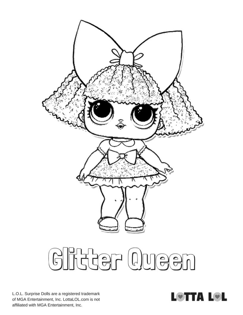 Glitter Queen Coloring Page Lotta Lol Coloring Pages