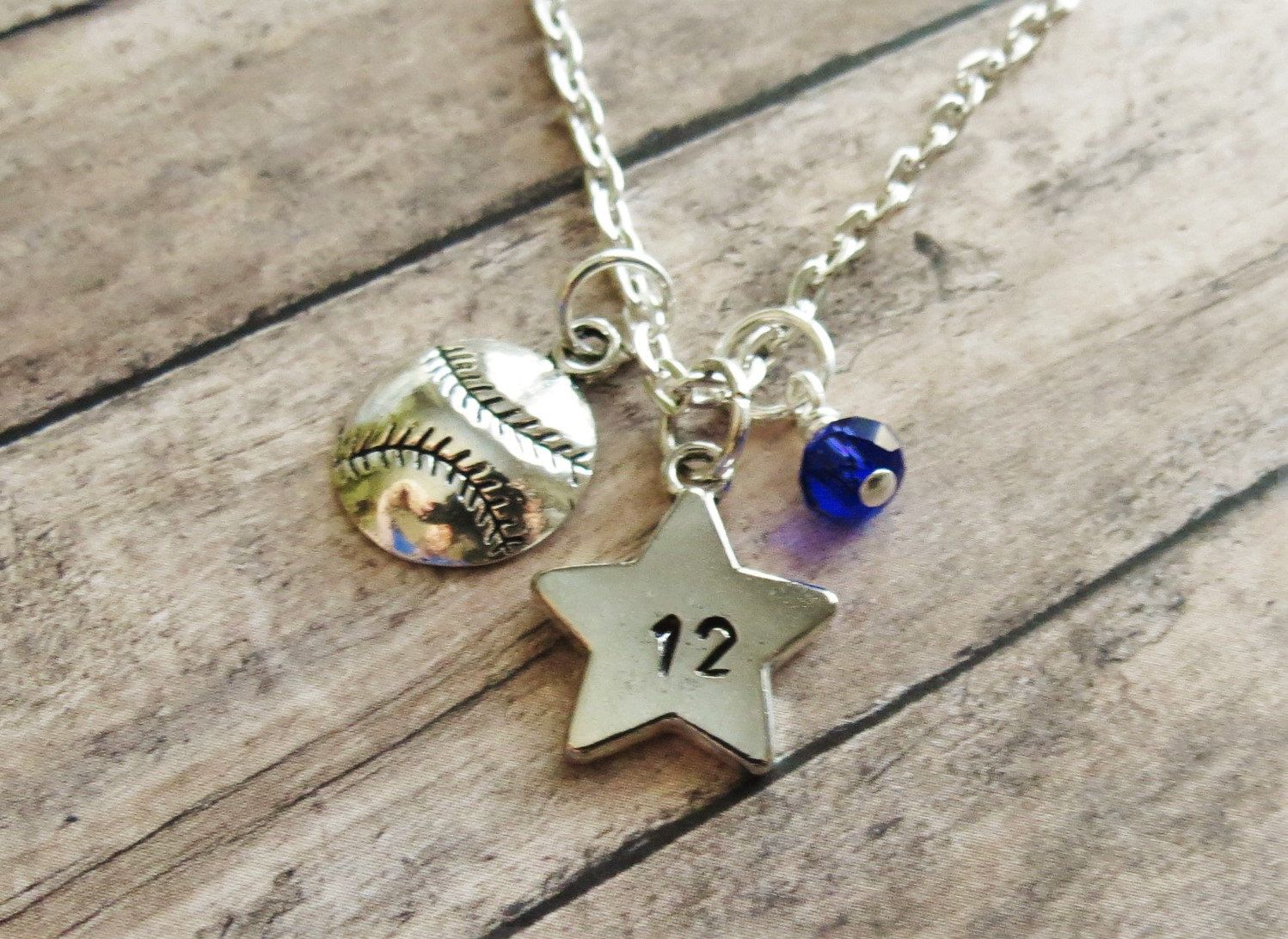 pin softball rhinestones etsy jewelry heart number handmade and via with necklace