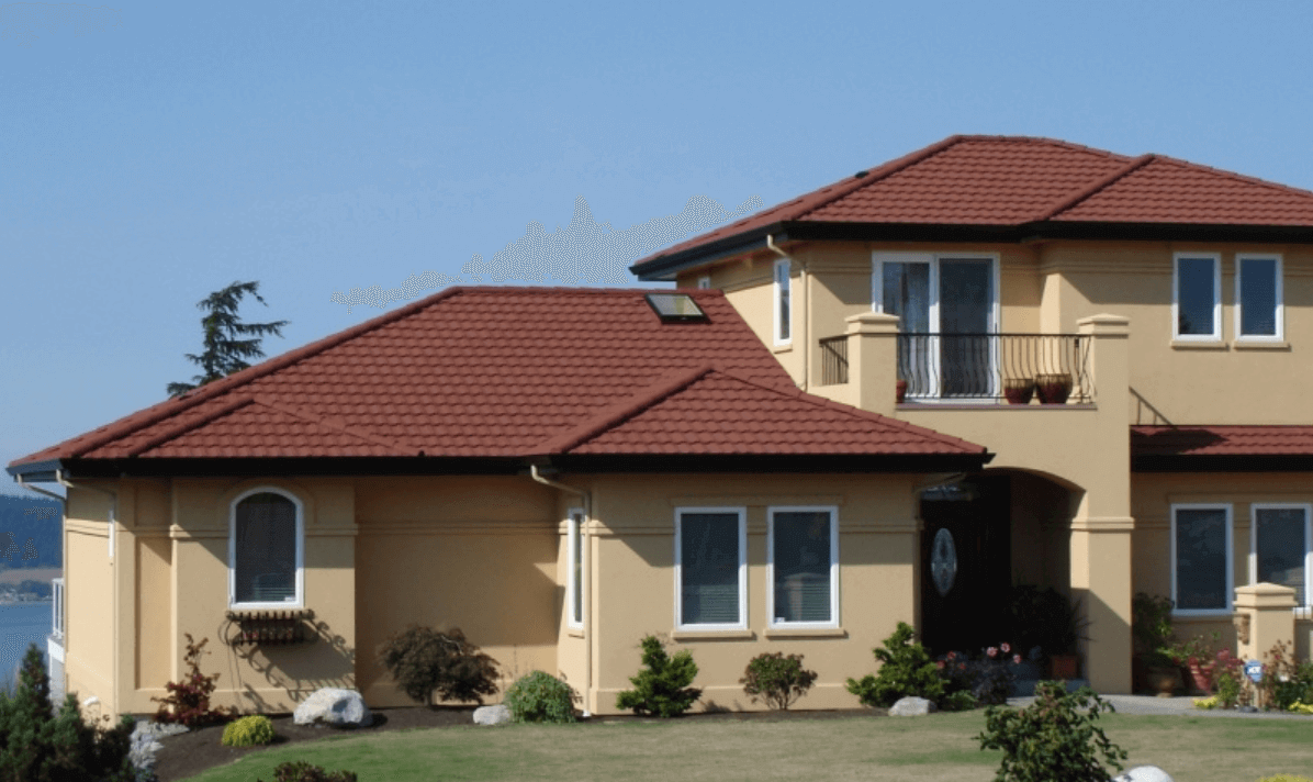 Stone Coated Metal Roof Tile Cost Design Options Advantages Roof Design Metal Roof Tiles Roofing