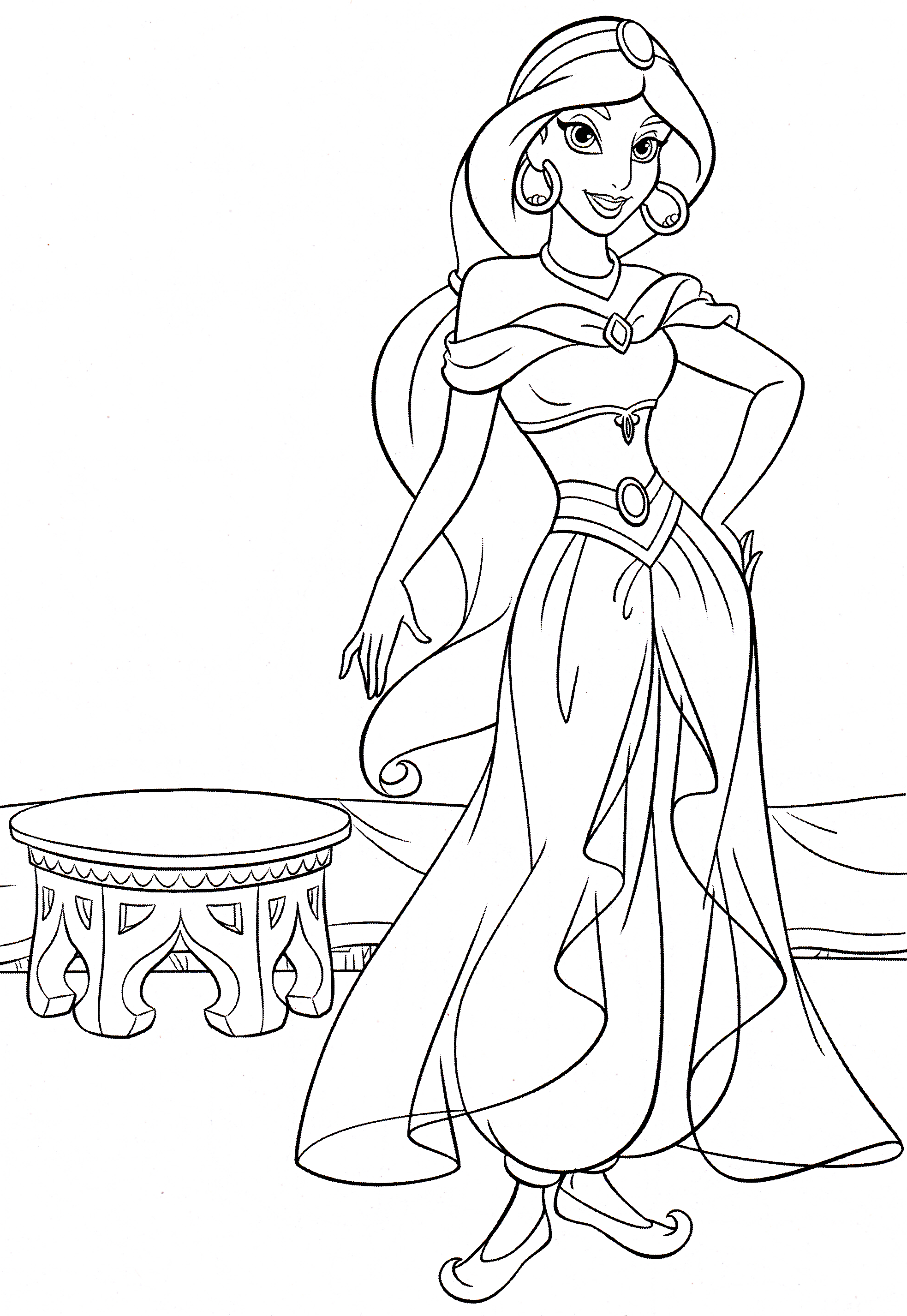Walt Disney Characters Photo: Walt Disney Coloring Pages - Princess Jasmine  in 2020 | Disney princess coloring pages, Disney coloring pages, Disney  princess colors