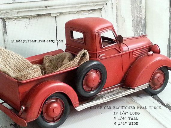 Large Metal Vintage Old Fashioned Red Truck Christmas Home Decor