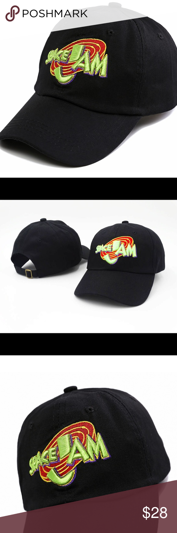 49c83902 Black Space Jam Tune Squad Dad Hat Cap Custom Embroidered Black Space Jam  Tune Squad Dad Hat Cap Size is Adjustable with a strap back.