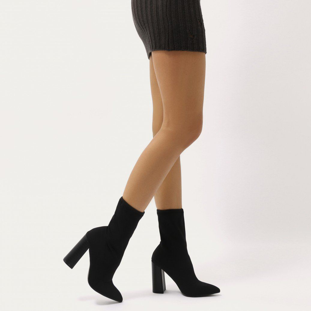 c0a7279c3b23 Libby Flared Heel Sock Fit Ankle Boots in Black Stretch
