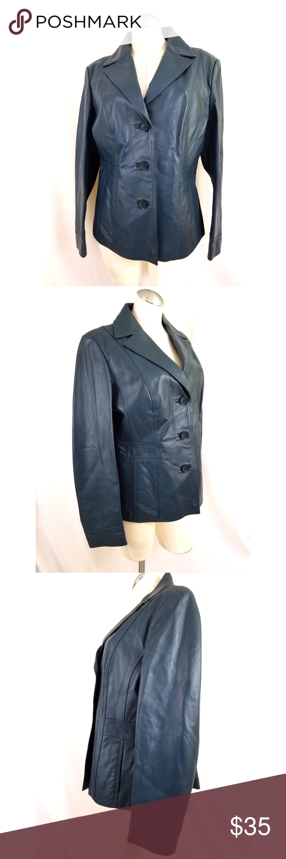 East 5th Size L Teal Leather Jacket Teal leather