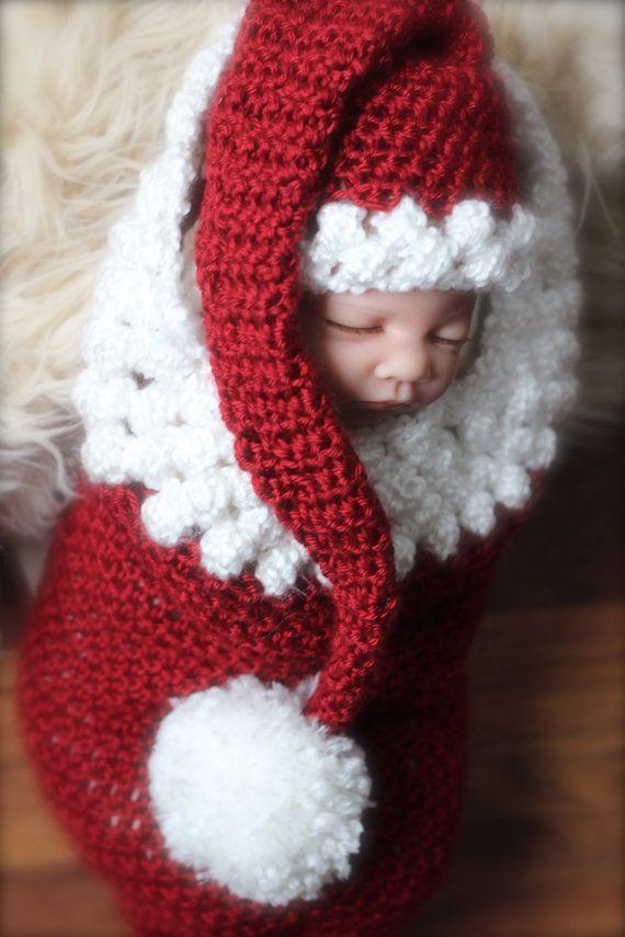 Newborn baby girl or newborn baby boy Christmas cocoon and santa hat ...