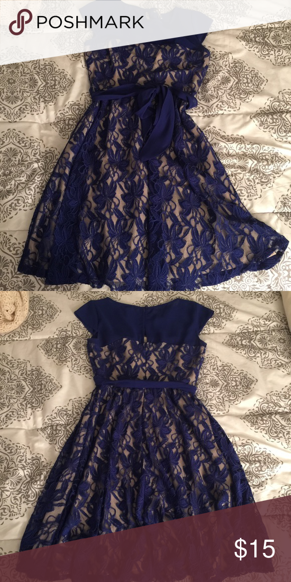 Blue lace dress Only worn once beautiful lace overlay dress. Bought at dress barn Dresses Midi