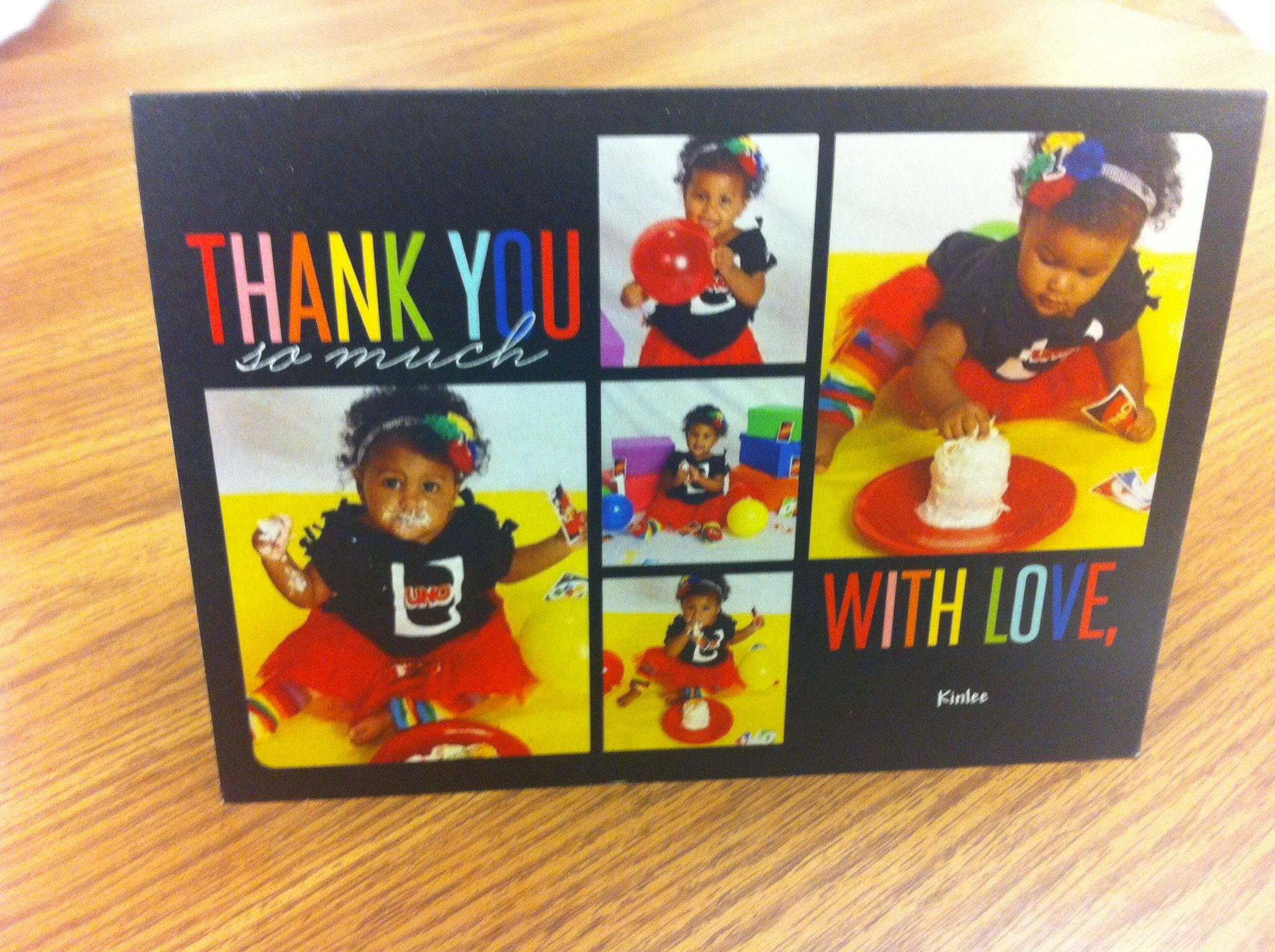 Kinlee S Uno Birthday Party Thank You Cards Made On Shutterfly