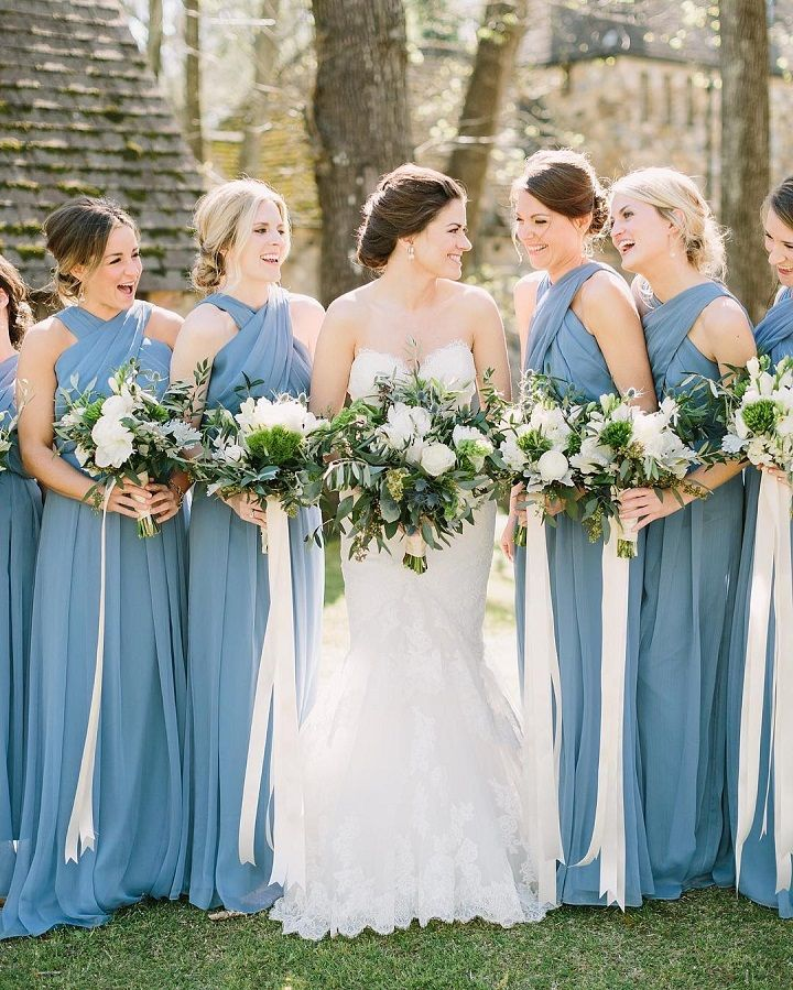 Blue Bridesmaid Dresses White Wedding Bouquets With Long Ribbons