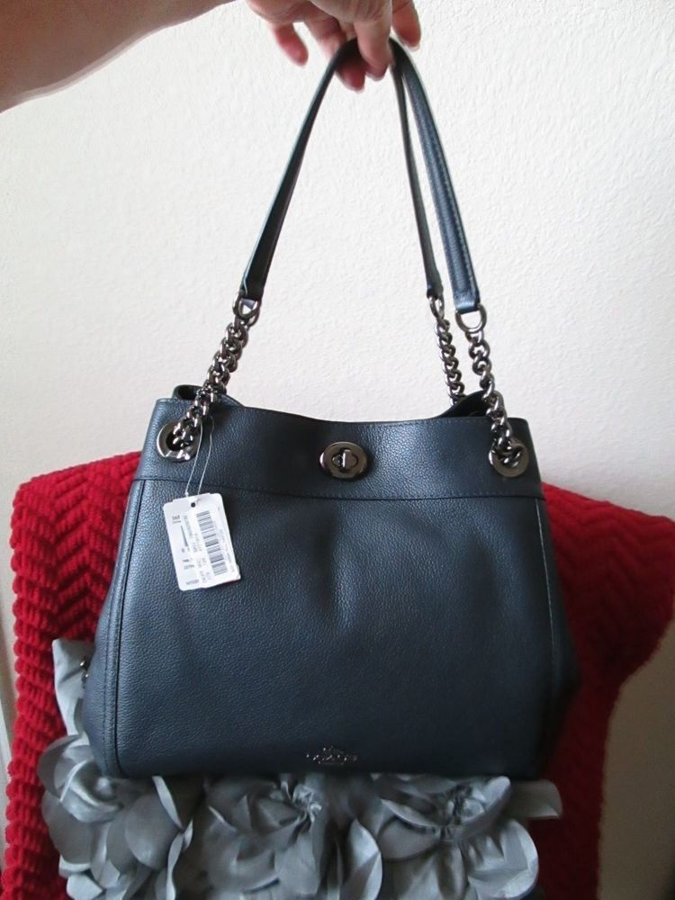 64e6e741a6ba NWT COACH Turnlock Edie Shoulder Bag in Pebble Leather  Navy 395.  purses   fashion