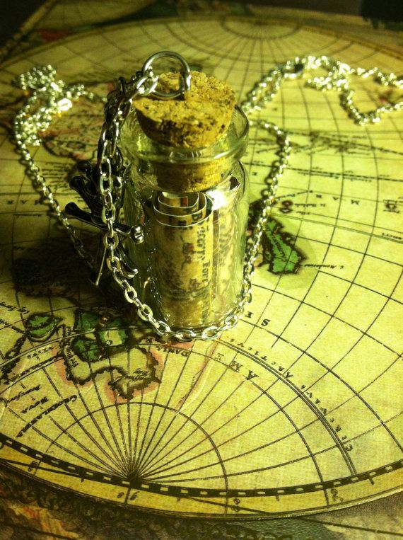 Treasure map inside a bottle necklace!    It can be a gift for someone, or buy for yourself to show off your true geekery! :3    Shipping: Made to order & ready to ship 1-5 business days of placing your order.    P.S. I also take custom orders!    ❤・•●•・❤・•●•・❤・•●•・❤・•●•・❤・•●•・❤・•●•・❤・•●•・❤・•●•・❤...