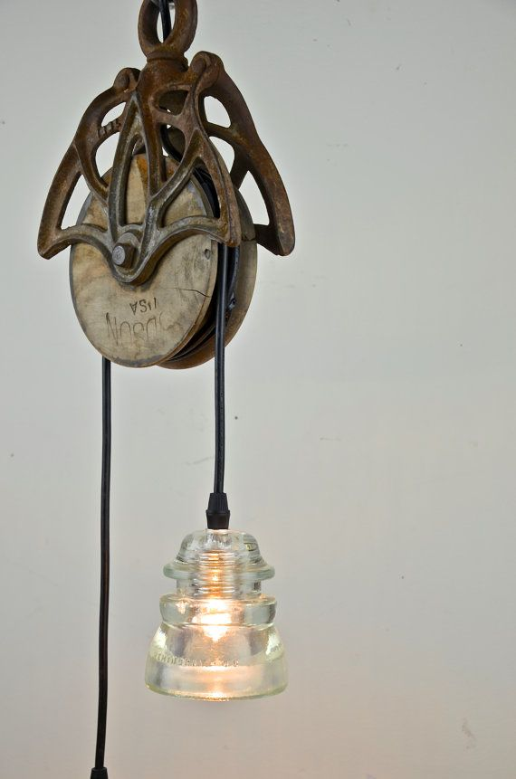 Hancrafted Pendant With Reclaimed Barn Pulley Amp By