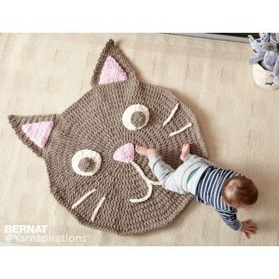Free Easy Crochet Rug Pattern Cat Face Rug Pattern Would Be Cute For A Baby S Room Crochet Rug Patterns Easy Crochet Rug Patterns Crochet Mat